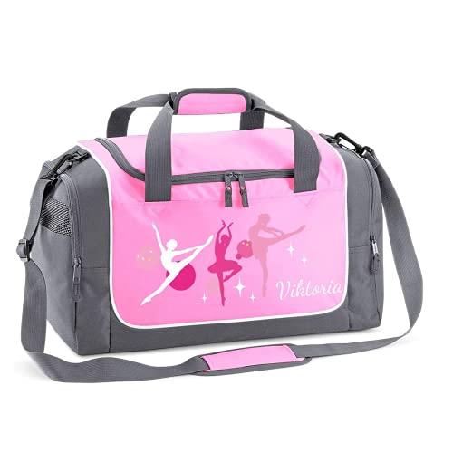 Mein Zwergenland Sporttasche Kinder personalisierbar 38L, Kindersporttasche mit Name und Ballerina Bedruckt in Rosa