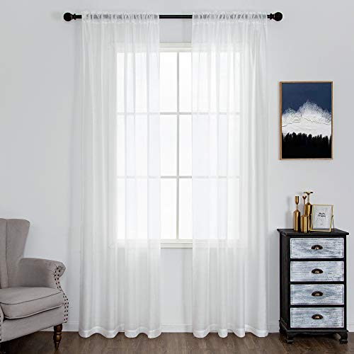 DUALIFE 84 Inch White Sheer Curtains 2 Panels Sets- Gauze Curtains Sheer White for Bedroom Living Room Light Filtering Window Treatment Solid Voile Window Drapes Curtain Panels with Rod Pocket