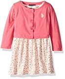 U.S. Polo Assn. Girls' Toddler Dress with Sweater Jacket, Printed Babydoll with Cross Back Camellia Rose, 2T