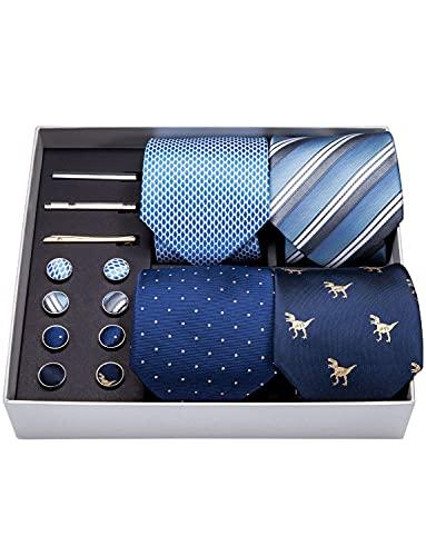 Barry.Wang Designer Blue Ties for Men Handkerchief Cufflink and Tie Clip Necktie Set Fashion