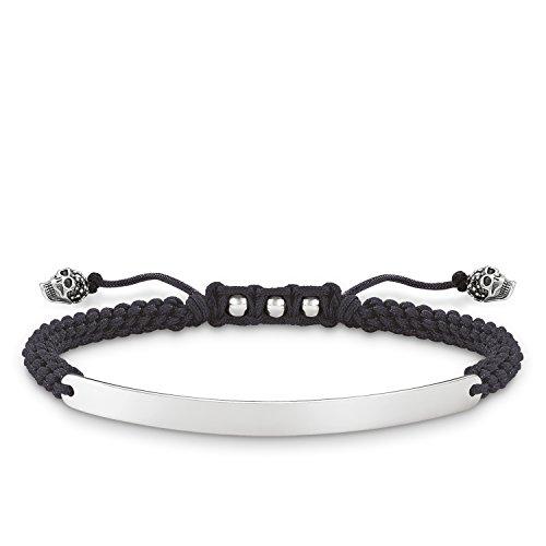 Thomas Sabo Love puente, unisex pulsera negro calavera, de plata de ley 925, ennegrecido, nailon