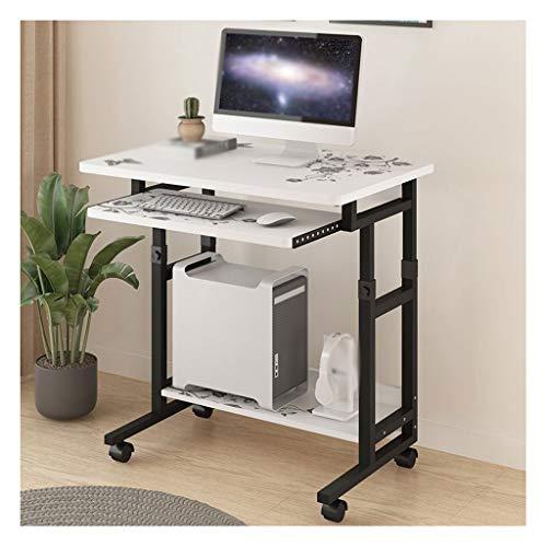Yf Cellulare Computer Desk On Wheels PC regolabile Tavolo regolabile in altezza tastiera scorrevole Vassoio for home office Assemblea facile (Color : White flower)