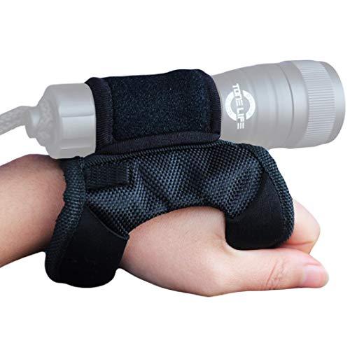 Tonelife Goodman - Correa de mano y brazo de nailon suave ajustable con cinta mágica y diámetro máximo de 2 – 3,8 cm para linterna LED, luces de buceo (sin linterna)