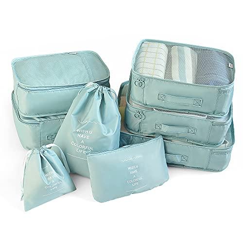 Juego de 7 cubos de embalaje para equipaje de viaje, bolsas de almacenamiento de viaje ligeras para ropa, organizadores de equipaje grandes cubos de embalaje para bolsa de viaje maleta (azul claro)