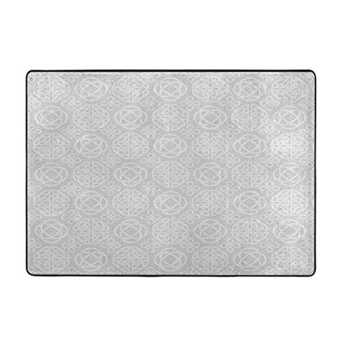 Modern Area Rug Tribal Celtic Knots Eternity Forms Pattern Boho Ireland Irish Cross Floral Artprint 4 by 5 Ft for Living Room/Dining Room/Bedroom Grey White