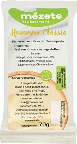 Mezete Hummus, helle und cremige Konsistenz, Frei von Konservierungsstoffen, verzehrfertig, vegan und glutenfrei, (1 x 70 g)