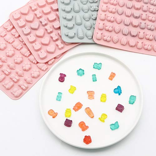 Candy Gummy Molds Chocolate Molds,PHIAKLE Food Grade Mini Silicone Mold, 5 Pcs Cartoon Silicone Baking Mold, 38 Shapes with Insects, Animals, Marine life and Fruits, Soft Candy Mold for Children