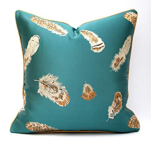 QXbecky Fundas de Cojines Pluma Verde Beige Moderna Minimalista luz Lujo Funda de Almohada Cuadrada (sin núcleo) decoración de sofá 48cm