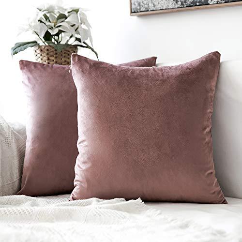 MIULEE 2er Set Samt Soft Solid Dekorative Quadrat Wurf Kissenbezüge Set Kissen Fall für Sofa Schlafzimmer 16x16 inch 40x40 cm Marmelade