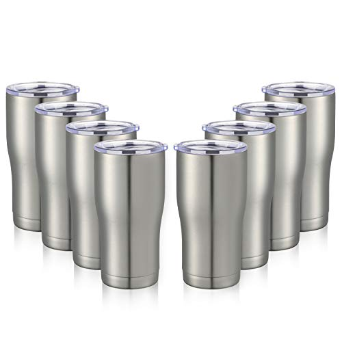 MEWAY 20oz Stainless Steel Tumblers 8 Pack Bulk ,Vacuum Insulated Coffee Cup with Lid ,Double Wall...