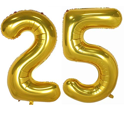 Tellpet Gold Number 25 Balloons, 40 Inch