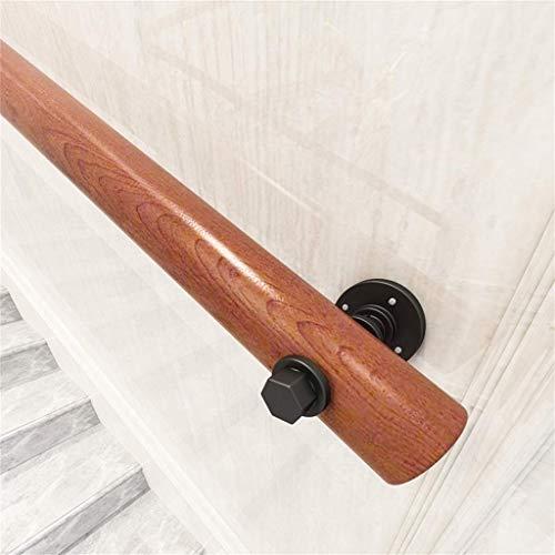 ARMREST Barandilla de Escalera de Madera Redonda de 1ft-10ft con Soporte de Hierro para Uso Interior y Exterior