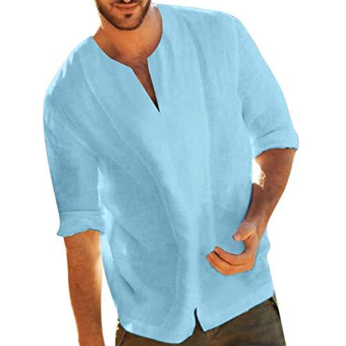Yowablo T-Shirts Tops Blusen Männer Baggy Cotton Blend Unifarben Dreiviertel-V-Ausschnitt (XL,Hellblau)