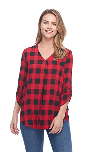 FDJ French Dressing Women s Buffalo Red Pop Over Blouse, Red Black, 12