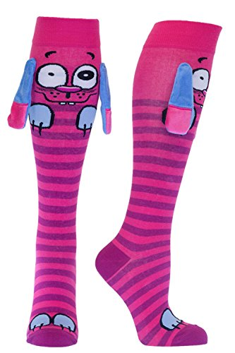 Women's Novelty Knee High Socks With Ears & Grippy Soles (Pink Spanky), Spanky, One Size