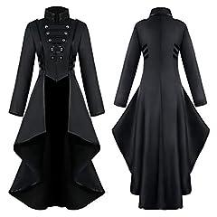Buetory Women Gothic Steampunk Renaissance Medieval Dress Lace Corset Halloween Costume Tailcoat Victorian Jacket Frock Coat(Black,XX-Large) #2