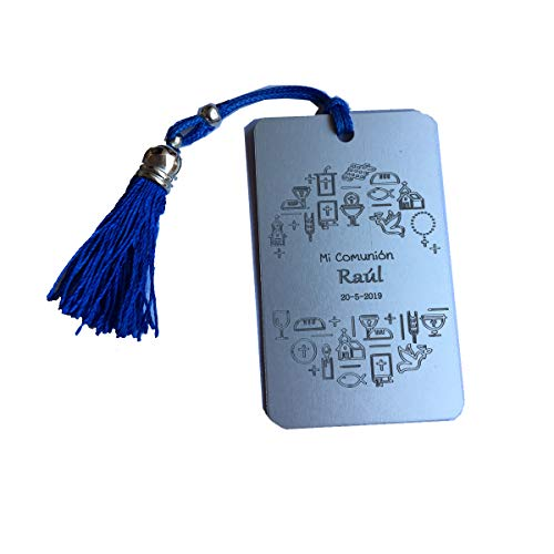 Lote 10 Marcapáginas metálico para comunión, grabado con simbolos y