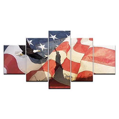 VGFGI 5 Stücke der amerikanischen Flagge Statue des Freiheitsadlers für Wohnzimmer Hauptdekoration Leinwand Malerei druckt Wandplakat