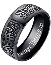 8mm Titanium steel Men rings Engraved letter Islamism Rings Religion Muslim finger ring jewelry-US11 size