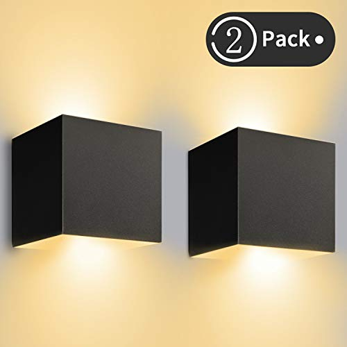 12W LED Wandleuchte Innen/Außen 2 Stücke Außenwandleuchte 3000K Warmweiß Wandlampe LED mit Einstellbar Abstrahlwinkel IP65 Wasserdichte 1200lm