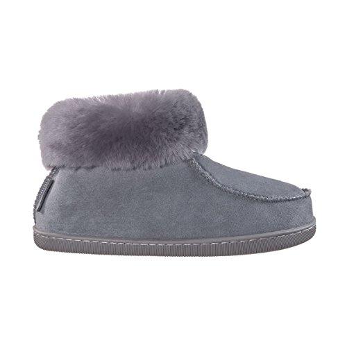 Vanuba Peppin - Pantoufles Faites Main pour Femme, Cuir Naturel, Laine 100% Mouton, Chaussures Chaudes pour la Maison (37 EU, Gris (Gray))