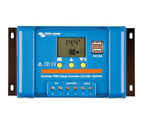 Regulador de Carga Solar 12V / 24V 5A BlueSolar PWM Pantalla LCD/Conexión USB