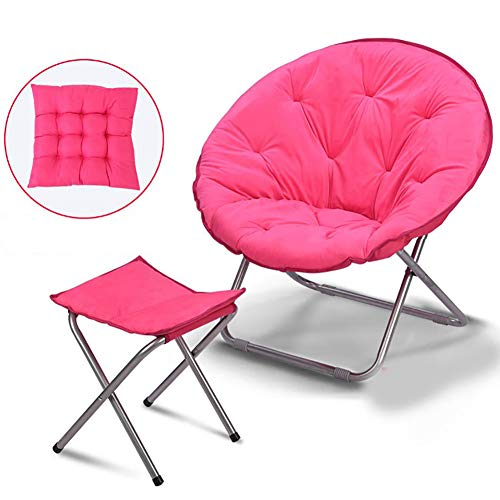 Fengyj Moon Chair Outdoor Lounge Furniture, with Small Stool and Cushion for Porch,Balcony and Backyard(8250Cm)