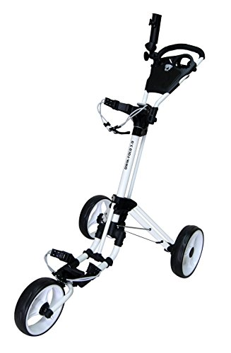 Qwik-Fold 3 Wheel Push Pull Golf CART - Foot Brake - ONE Second to Open & Close! (White/White)