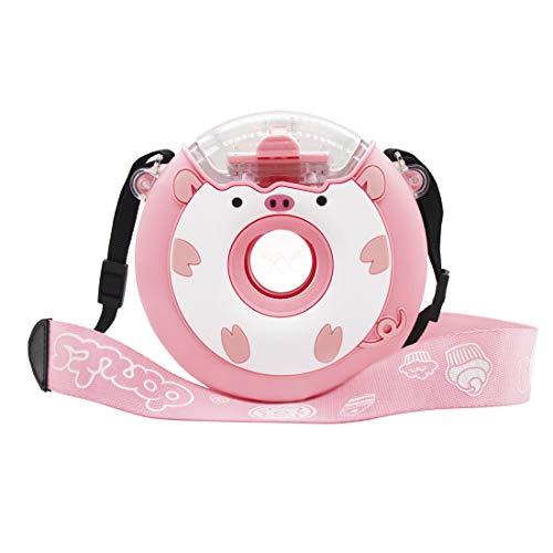 YY Donut - Botella de agua creativa para niños, 14 onzas con correa para el hombro, el mejor regalo para niños (cerdo rosa)