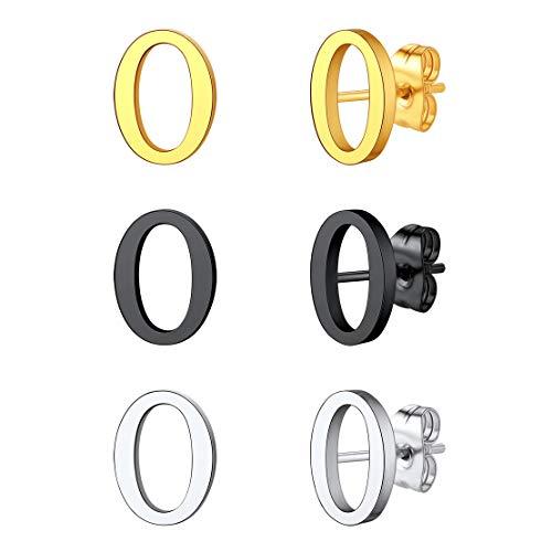 FindChic 3 Pares Letras Pendientes botón colores platino negro dorado Pendientes pequeñas para mujeres hombres