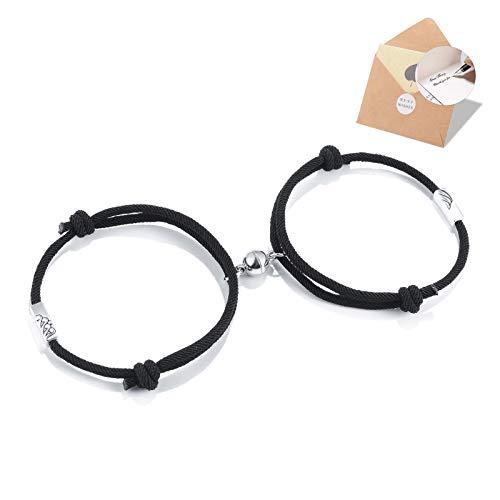 BOCHOI 2PCS Mountain and Ocean Couple Magnetic Bracelets Eternal of Love Matching Bracelet for Women Men Girlfriend Boyfriend Lover Jewellery Gifts