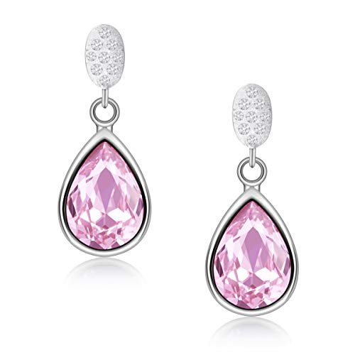 iRealy Teardrop Earrings 925 Sterling Silver for Brides Women Girls, Dangle Earrings with Sparkling Crystal, Fashhion Costume Earrings Jewellery with Gift Box