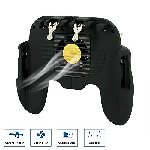 Preisvergleich Produktbild Mobile Game Controller for PUBG with Cooling Fan 4 in 1 Gamepad L1R1 Aim and Fire Triggers for iPhone & Android Smartphones Fornite Knives Out etc.