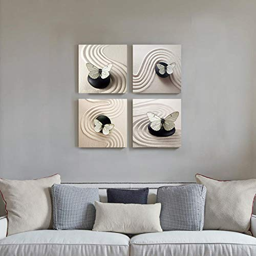 """Cuadros del cartel Mariposa Arte de la pared Pintura en lienzo Decoración Zen Cuadros Negro Blanco para el baño Dormitorio Decoración del hogar -30x30cm / 11.8 """"x11.8"""" X4 Sin marco"""