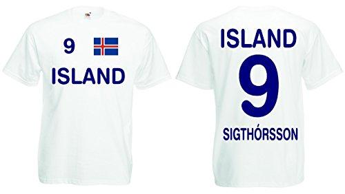 Fruit of the Loom Island EM 2016 Trikot Sigthorsson Fanshirt T-Shirt|weiss-XXL