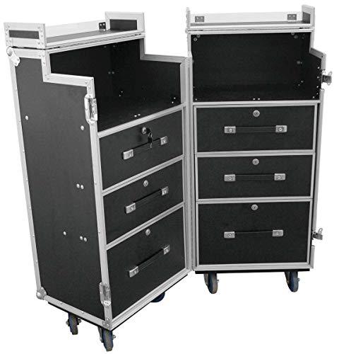 TEGO PRO 106349 Mobile Theke/Bar DD-1 mit Rollen, Fächer und Schubladen, 107 x 41 x 125 cm Thekencase Schubladencase