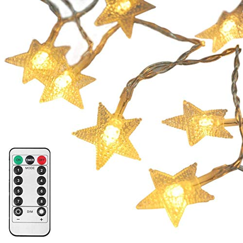 echosari [Upgraded Version] 16 Feet 50 LED Christmas Star LED String Lights with Remote & Timer Battery Operated Fairy String Lights for Indoor & Outdoor Garden, Wedding Decoration (Warm White)