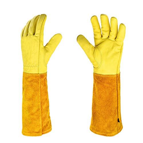Ysislybin Guantes de jardinería de piel, a prueba de espinas, aislamiento térmico, resistentes al desgaste, para soldar, jardinería, recogida y tareas domésticas, mangas largas, amarillo