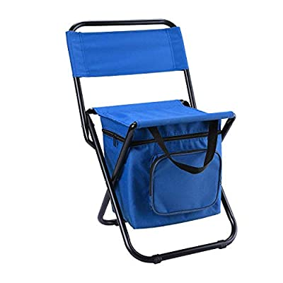 LEADALLWAY Foldable Camping Chair with Cooler Bag Compact Fishing Stool (Blue)
