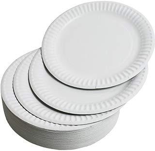 Plato desechable de papel, 23 cm, color blanco, 100 unidades