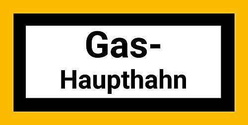 Gas-Haupthahn Schild/Aufkleber aus PVC-Folie selbstklebend, 20 x 10 cm