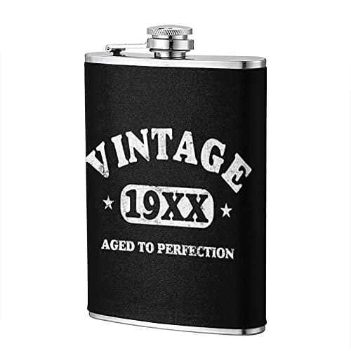 mengmeng Vintage 19XX 8 oz porttil de bolsillo petaca de acero inoxidable petaca frasco de bolsillo whisky Flagon para escalada camping barbacoa bar partido bebedor