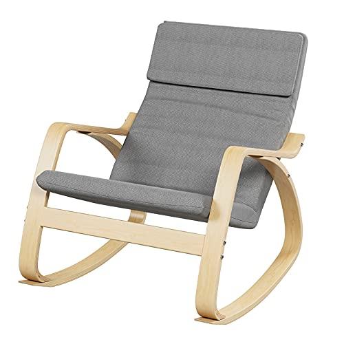HOMECHO Schaukelstuhl Schwingsessel Relaxstuhl, Belastbarkeit 150 kg, Gestell aus Birkenholz, Bezug aus Leinenimitat, für Wohnzimmer Balkon Grau