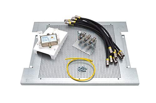 maxx.onLine Kabelfernsehen Montage-Set für 6 Teilnehmer, Hausanschlussverstärker und Kabel-TV Verteiler mit 300x400x18mm Montageplatte, Überspannungsschutz, Erdungsblock, Cabelcon Patchkabel