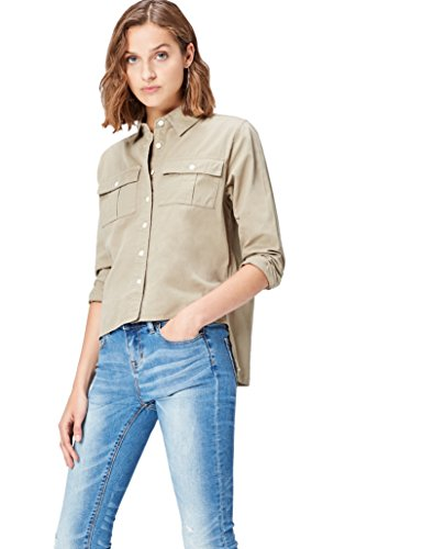 find. Hemd Damen mit verkürzter Front, Workwear-Design mit Brusttaschen und Kent-Kragen, Grün (Khaki), 38 (Herstellergröße: Medium)