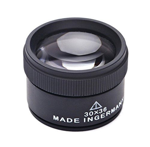 Desktop 30X Jewelry Loupe 36mm Double Deck Glass Magnifying Eye Loops,Handheld Mini Microscope Magnifier for Small Prints,Diamonds, Coins, Miniatures, Craft and Map