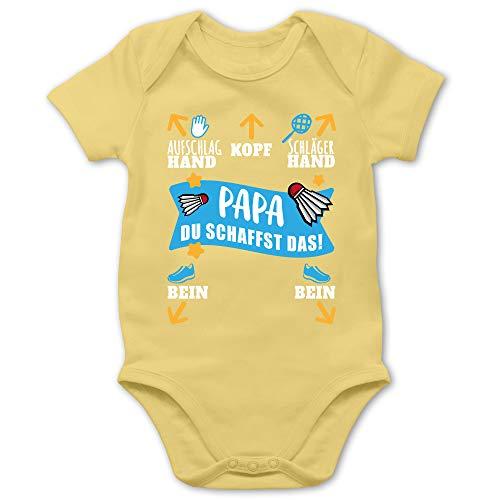 Sport Baby - Papa - Du schaffst das! - weiß/blau - 6/12 Monate - Hellgelb - Body Baby - BZ10 - Baby Body Kurzarm für Jungen und Mädchen
