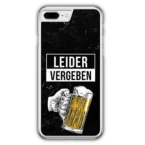 Leider Vergeben Bier - Hülle für iPhone 8 Plus - Motiv Design Cool Witzig Lustig Spruch Zitat Jungs Männer Herren - Cover Hardcase Handyhülle Schutzhülle Hülle Schale