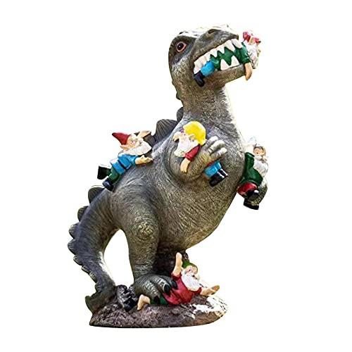 ZGNB Naughty Dinosaur Garden Gnome Statue Outdoor Art Decor Figurine, Inc The Great Garden Gnome Massacre