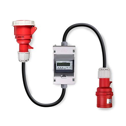 Swissnox 16A MID geeicht - Digital Stromzähler Zwischenstecker Box 400V / 16A CEE-Stecker Und Kupplung (PCE). Wattmeter Energiezähler Zwischenzähler Starkstromzähler. Assembled in Germany 0.5m